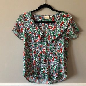 Anthropologie Floral Button Up Blouse